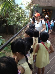 Keeping quiet to visit the pandas.