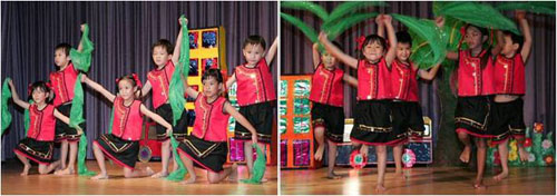 The Kindergarten 1 children executed with precision and lots of smiles, a Chinese cultural dance