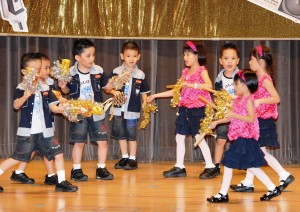 K1 and K2 little stars from BAC rock the house as they create rhythmic beats using recycled water bottles.